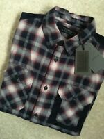 "ALL SAINTS MEN'S INK BLUE ""GRAM"" CHECK LONG SLEEVE SHIRT TOP - XS - NEW & TAGS"