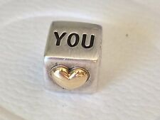 Authentic Pandora Two Tone Silver & 14ct Gold I Love You Cube Charm - 790200