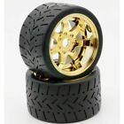 Powerhobby 1/8 Gripper 54/100 Belted Mounted Tires 17mm Gold Wheels