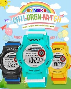 Boys students electronic colorful light digital sport multi functional watch