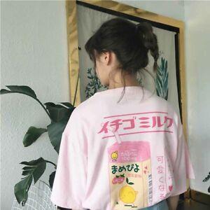 Women Harajuku Kawaii T-shirt Short Sleeve Strawberry Milk Box Girl Top Pink 2XL
