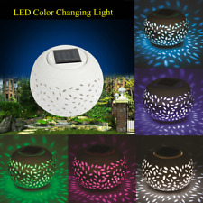 Ceramic LED Color Changing Solar Power Table Night Light Lamp Garden Decoration