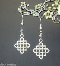 Vintage Silver Lucky Celtic Square Maze Weave Knot Dangly Earrings