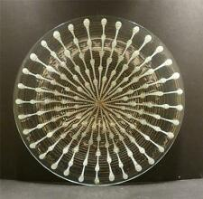 """Higgins Studio Glass Charger - Classic Line In White and Gold - 12 1/2"""" - MINT"""