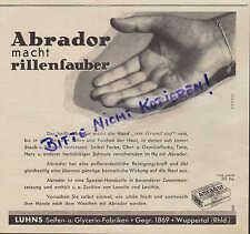 WUPPERTAL, Werbung 1937, Luhns Seifen-Glycerin-Fabriken ABRADOR Seife