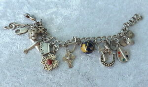 Vtg sterling silver 16 charm bracelet religious travel luck paint plane music