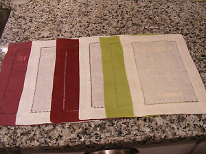"""6 New Sferra Color Ring Embroidered Linen Cocktail Napkins Assorted Colors 6""""x9"""""""