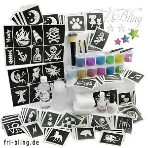 Glitzertattoo SET / Glitzer Tattoo Set M / Sparpreis / über 200 Teile / NEU