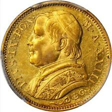 ITALY PAPAL STATES 1869 20 LIRE GOLD COIN ALMOST UNCIRCULATED CERTIFIED PCG AU58