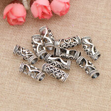 10pcs Silver Hair Beads For Dreadlocks Cuff Tube Clip Hair Rings For Braiding