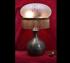 PAIRPOINT Antique Art Nouveau Deco Lamp Base Wheel Cut Etched Glass Beaded Shade