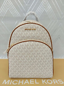 Michael Kors Genuine Ladies Medium Backpack Vanilla Abbey Jet Set MK Print BNWT