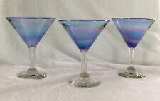 THREE HANDBLOWN IRIDESCENT COCKTAIL MARTINI GLASSES