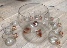 Antique Pink Depression Glass Footed Punch Bowl Set 9 Cups Rare Estate Find
