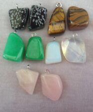 10 X Gemstone Pendants,tumblestone,Jade,opal,rose Quartz,joblot,wholesale