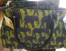 New Rock Flower Paper Elephant Train Zip Bag Navy Green 16X11 & 2 Cosmetic Cases