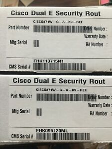 LOT OF 2 NEW IN BOX Cisco CISCO871W-G-A-K9 871 Ethernet Wireless Router