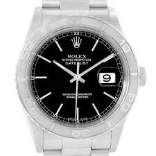Rolex Turnograph Datejust Steel White Gold Black Baton Dial Watch 16264