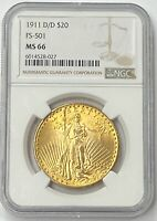 1911-D/D $20 Saint Gaudens Double Eagle Gold Pre-33 NGC MS66 Amazing Super Gem