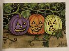 ACEO Pumpkin Jack-o-lantern Trick O Treat  Halloween 3 Original Motyl Painting