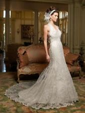 CASABLANCA $1499 8 WHITE BEADED LACE V-NECK HALTER MERMAID TRUMPET WEDDING DRESS