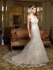 CASABLANCA 💕 $1499 6 iVORY LACE V-NECK HALTER MERMAID TRUMPET WEDDING DRESS NEW