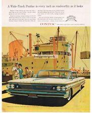 1960 PONTIAC Bonneville White Hardtop Fitzpatrick Kaufmann art Vintage Ad
