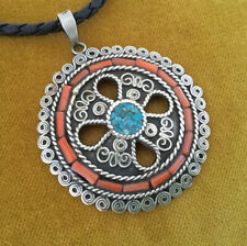 Gorgeous Amulet Tibet Turquoise + Coral Silver Antique