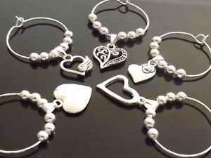10 Mixed Heart Wine Glass Charms Table Decoration Wedding Birthday Hen Party