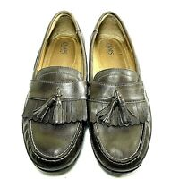 Chaps Men's Brown Leather Kiltie Tassel Slip On Moc Toe Shoes Loafer 11 M