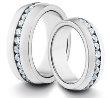 HIS & HERS 8MM/6MM Titanium Silver CZ Set Comfort Fit Wedding Band TWO RING SET