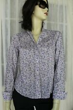 SIZE 8 PERRI CUTTEN PURPLE FLORAL BUTTON FRONT BLOUSE SHIRT TOP 🐧FREE POST ON 5