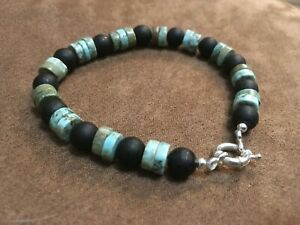 "MINAS Mens Sterling Silver Black Onyx, African Turquoise Bracelet 8"" Jumbo Clasp"