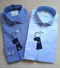 "2 x NEW TM Lewin Shirts Size 15.5"" collar Slim Fit Blue Dogtooth Plain"