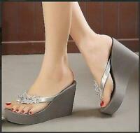 Women's Flip Flops Summer Beach Sandals slipper Platform Wedge Heel Shoes #215