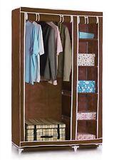 FARNDALE WARDROBE STORAGE CLOSET CLOTHES ORGANISER RAIL HANGING SHELF BROWN