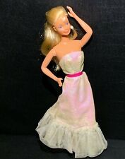 Vintage 1980's Barbie Doll Mattel Pearlized Fabric Gown