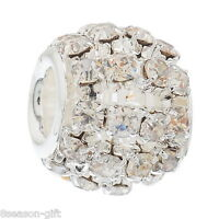 50 Hollow Clear Rhinestone Beads Fit Charm Bracelet