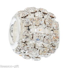 50 Hollow Clear Rhinestone Beads Fit Charm Bracelet