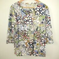 Orvis Womens Shirt Top Floral Cotton Blue White Green Size Large 3/4 Sleeve