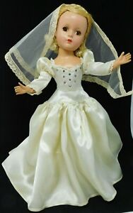 """VNTG 1948-50 RARE 14"""" Madame Alexander Lucy Bride doll, Ivory Outfit Tagged"""
