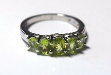 AUGUST BIRTHSTONE: Platinum Plate over Silver PERIDOT Ring, 1.5 tcw - size 6.5
