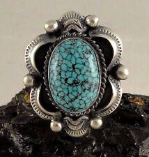 Navajo Sterling Silver Kingman Web Turquoise Handmade Ring - Gilbert Tom
