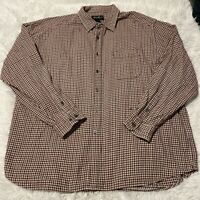 Eddie Bauer Mens Size XXL Red Brown Plaid Long Sleeve Button Down Shirt EUC