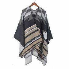 Women Ethnic Faux Wool Shawl Cloak Cape Boho Coat Poncho Cardigan Jacket Casual