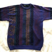 vintage 90s Cosby Style melange sweater Size L purple and black funky print EUC