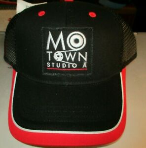 NWT MOTOWN STUDIO A Black Mesh Trucker Adjustable Hat One Size Fits Most Museum