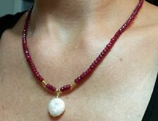 30 carats genuine ruby necklace solid 14k gold and freshwater coin pearl