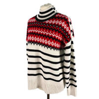 M&S Size 12 14 16 Black White Red Striped Jumper Buttons Funnel High Neck Winter