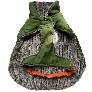 Good2Go XL Dog Coat Green Orange Cozy Jacket Plush Lining Water Wind Proof Shell